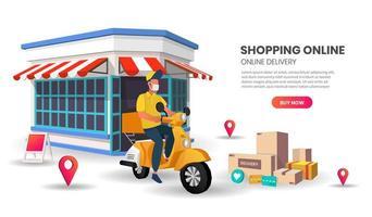 modello di sito Web uomo consegna scooter mascherato vettore