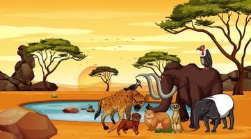 scena con animali vicino allo stagno vettore