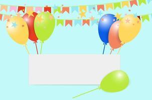 palloncini colorati e banner bianco