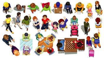 vista dall'alto set di personaggi che svolgono diverse attività vettore