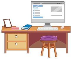 un tavolo di studio su bianco
