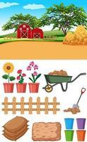 scena di fattoria con fienili e altri oggetti agricoli
