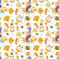 sirena e animali marini cartone animato stile seamless