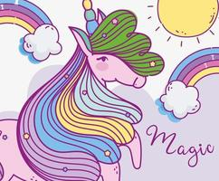 simpatico unicorno magico con arcobaleni vettore