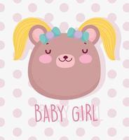 testa di ragazza carina bambino orso vettore