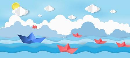 barche di carta che navigano sul mare vettore