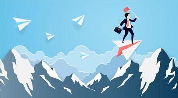arte della carta uomo d'affari su un aereo di carta sopra la montagna vettore