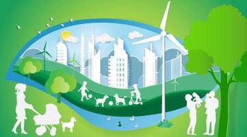 concetto di giornata mondiale dell'ambiente con le famiglie nel parco vettore