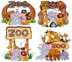 insieme di animali al cartello d'ingresso