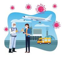 addetto alla biosicurezza che controlla la temperatura in aeroporto per il caso 19 vettore