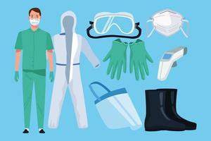 medico con elementi di equipaggiamento di biosicurezza per protezione covid-19 vettore