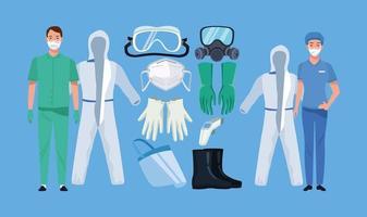 medici con elementi di equipaggiamento di biosicurezza per protezione covid-19 vettore