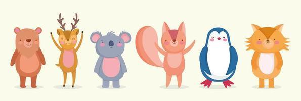 gruppo di simpatici animali selvatici design piatto