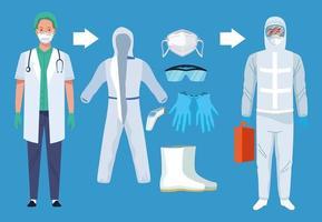 medici con dispositivi di biosicurezza per protezione covid-19 vettore
