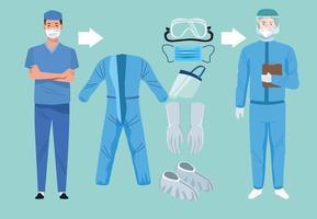 medici con elementi di equipaggiamento di biosicurezza per protezione covid-19