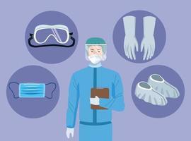 medico con elementi di equipaggiamento di biosicurezza per protezione covid-19