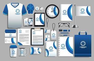set di elementi logo bianco, blu con modelli di cancelleria vettore