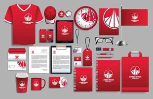 set di elementi logo rosso, bianco con modelli di cancelleria