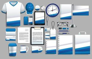 set di elementi blu e bianchi con modelli di cancelleria vettore