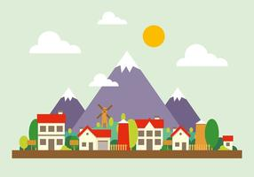 Illustrazione vettoriale di paesaggio urbano di montagna