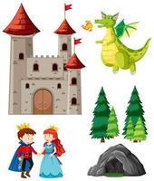 set da favola con drago, principe e principessa vettore