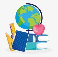 set di libri, righelli, quaderno, mela e un globo vettore