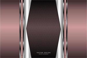 design metallico rosa e argento con fibra di carbonio marrone vettore