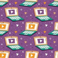 computer portatili su sfondo viola con motivo a triangoli senza soluzione di continuità vettore