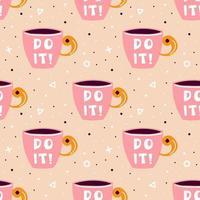 tazza di tè rosa, caffè seamless con forme