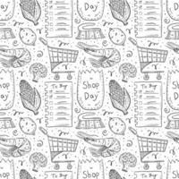 modello senza cuciture di contorno doodle disegnato a mano dello shopping vettore