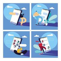 set di poster con uomini e smartphone in chat