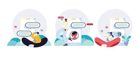 gruppo di persone e smartphone in chat