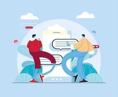 uomini con smartphone in chat