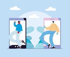 coppia di persone in piedi davanti allo smartphone vettore