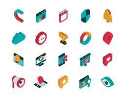 icone di marketing assortite vettore