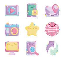 set di icone carino social network carino vettore