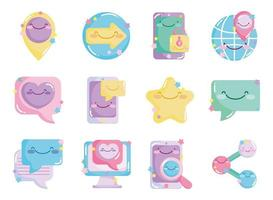 set di icone carino social network vettore