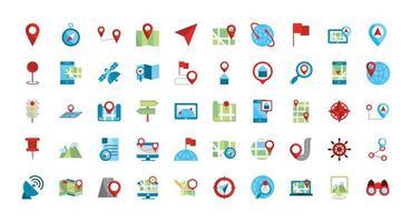 set di icone mappa e gps