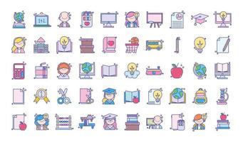 set di icone di istruzione, università e scuola vettore