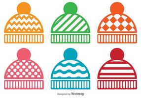 Insieme di vettore delle icone del cappello di inverno
