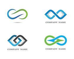 insieme di logo di simbolo di infinito blu, verde, grigio vettore