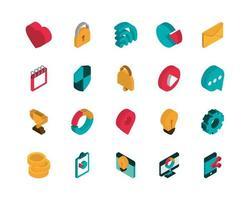 set di icone pubblicità stile isometrico