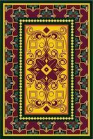 tappeto giallo arancio con riccioli e motivi floreali vettore