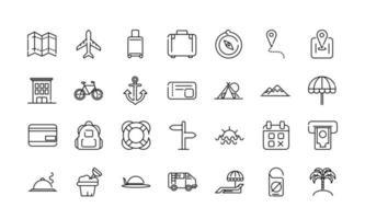 set di icone di arte linea spessa vacanza e turismo vettore