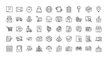 set di icone vettoriali di logistica e consegna