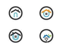 set di icone logo casa casa vettore
