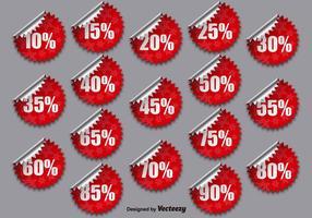 Insieme vettoriale di adesivi promozionali rossi