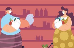 persone che utilizzano maschere mediche facendo la spesa nel supermercato