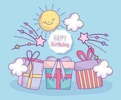 carta di compleanno con scatole regalo
