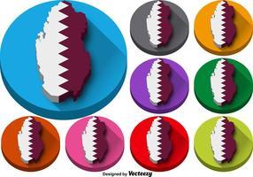 Insieme di vettore dei bottoni della siluetta dello stato del Qatar
